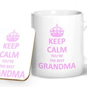 Keep Calm You're The Best Grandma – Printed Mug & Coaster Gift Set