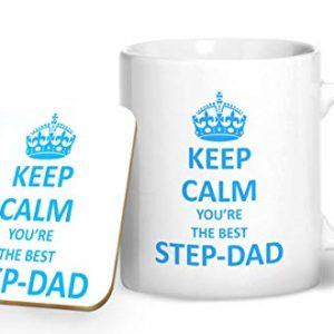 Keep Calm You're The Best Step-dad Mug And Matching Coaster Set – Printed Mug & Coaster Gift Set