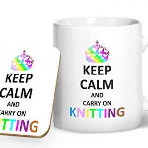 Keep Calm and Carry On Knitting – Printed Mug & Coaster Gift Set