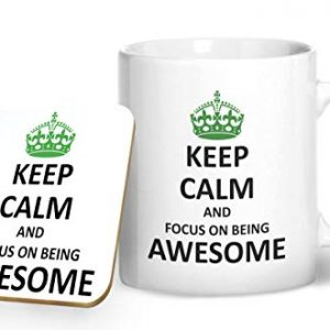 Keep Calm and Focus On Being Awesome – Printed Mug & Coaster Gift Set