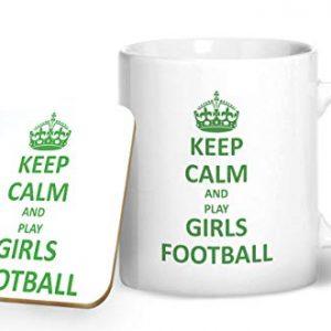 Keep Calm and Play Girls Football – Printed Mug & Coaster Gift Set