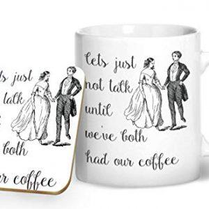 Let's Not Talk Until We've Had Our Coffee – Printed Mug & Coaster Gift Set