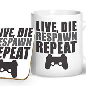 Live, Die, Respawn, Repeat – Gamer Mug – Printed Mug & Coaster Gift Set