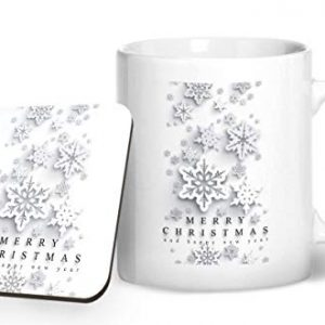 Merry Christmas Design 2 – Printed Mug & Coaster Gift Set