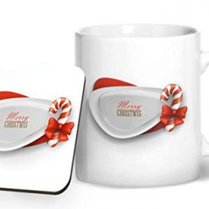 Merry Christmas Design 3 – Printed Mug & Coaster Gift Set