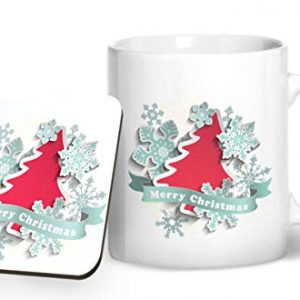 Merry Christmas Design 4 – Printed Mug & Coaster Gift Set