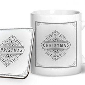 Merry Christmas Design 5 – Printed Mug & Coaster Gift Set