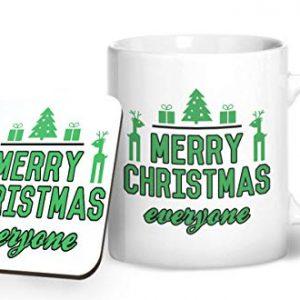 Merry Christmas Everyone Design 2 – Printed Mug & Coaster Gift Set