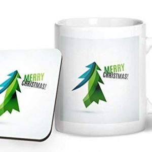 Merry Christmas Tree Design 1 – Printed Mug & Coaster Gift Set