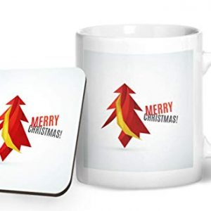 Merry Christmas Tree Design 2 – Printed Mug & Coaster Gift Set