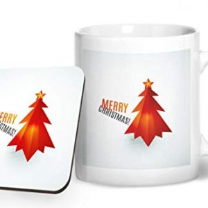 Merry Christmas Tree Design 3 – Printed Mug & Coaster Gift Set