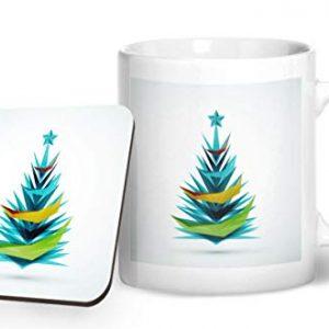 Merry Christmas Tree Design 4 – Printed Mug & Coaster Gift Set