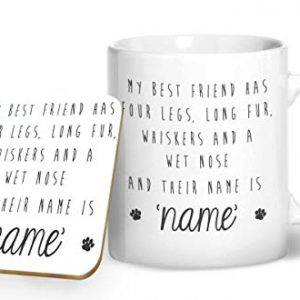 My Best Friend Has Fur and Whiskers with personalisaed Name – Printed Mug & Coaster Gift Set