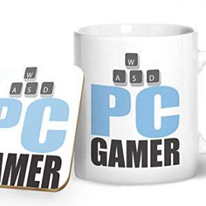 PC Gamer – Blue – Gaming Mug – Printed Mug & Coaster Gift Set