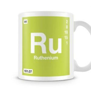Periodic Table of Elements 44 Ru – Ruthenium Symbol Mug