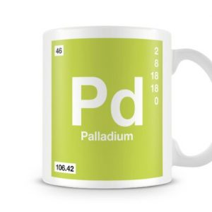Periodic Table of Elements 46 Pd – Palladium Symbol Mug