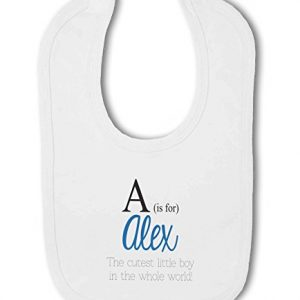 Personalised Alphabet Letter is for Name Blue Boy – Baby Bib