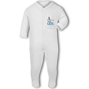 Personalised Alphabet Letter is for Name Blue Boy – Baby Grow
