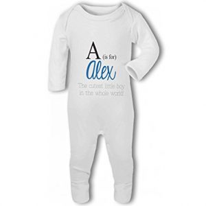 Personalised Alphabet Letter is for Name Blue Boy – Baby Romper Suit