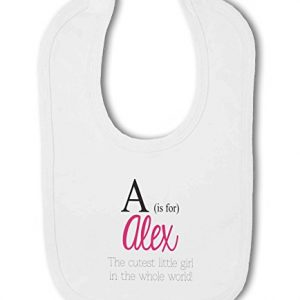 Personalised Alphabet Letter is for Name Pink Girl – Baby Bib