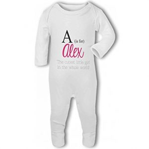 Personalised Alphabet Letter is for Name Pink Girl – Baby Romper Suit