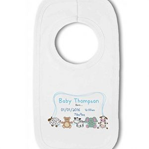 Personalised Baby Name, Birth, Weight, Time for Baby Boy – Baby Pullover Bib