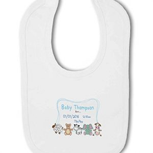 Personalised Baby Name, Birth, Weight, Time for Baby Boy – Baby Bib