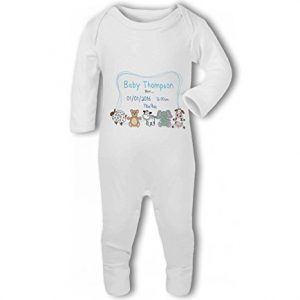Personalised Baby Name, Birth, Weight, Time for Baby Boy – Baby Romper Suit