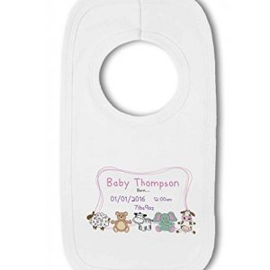 Personalised Baby Name, Birth, Weight, Time for Baby Girl – Baby Pullover Bib