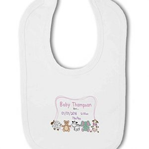 Personalised Baby Name, Birth, Weight, Time for Baby Girl – Baby Bib