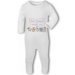 Personalised Baby Name, Birth, Weight, Time for Baby Girl – Baby Romper Suit