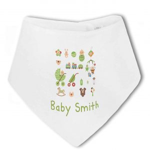Personalised Baby Name with Cute Baby Items Design Blue – Baby Bandana Bib