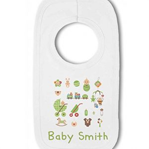 Personalised Baby Name with Cute Baby Items Design Blue – Baby Pullover Bib