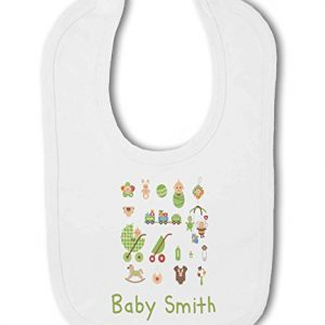 Personalised Baby Name with Cute Baby Items Design Blue – Baby Bib