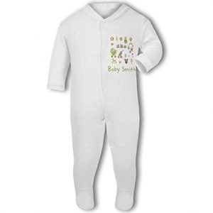 Personalised Baby Name with Cute Baby Items Design Blue – Baby Grow