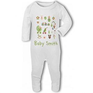 Personalised Baby Name with Cute Baby Items Design Blue – Baby Romper Suit