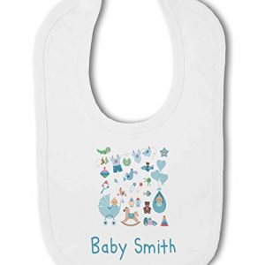 Personalised Baby Name with Cute Baby Items Design Green – Baby Bib