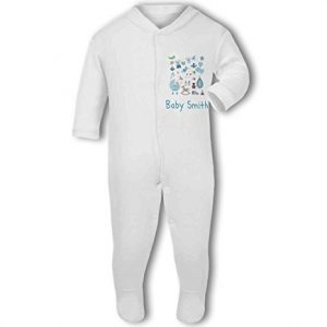 Personalised Baby Name with Cute Baby Items Design Green – Baby Grow
