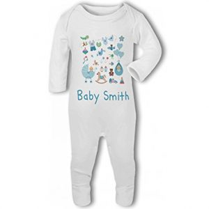 Personalised Baby Name with Cute Baby Items Design Green – Baby Romper Suit