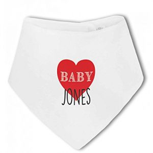 Personalised Baby Name with Heart Design – Baby Bandana Bib