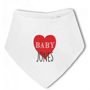 Personalised Baby Name with Heart Design – Baby Bandana Bib