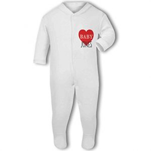 Personalised Baby Name with Heart Design – Baby Grow
