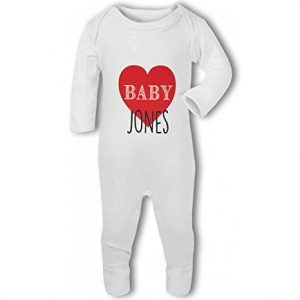 Personalised Baby Name with Heart Design – Baby Romper Suit