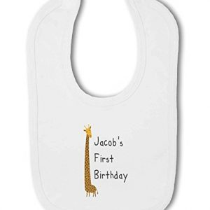 Personalised Name 1st Birthday with Giraffe design – Baby Bib