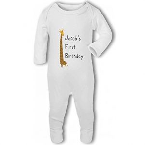 Personalised Name 1st Birthday with Giraffe design – Baby Romper Suit