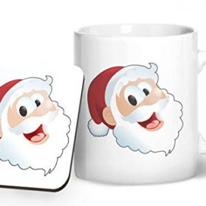 Santa Claus Face Christmas Stocking Filler – Printed Mug & Coaster Gift Set