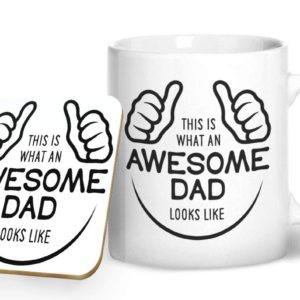 This is What an Awesome Dad Looks Like – Printed Mug & Coaster Gift Set