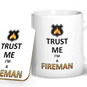 Trust Me I'm A Fireman Mug And Matching Coaster Set – Printed Mug & Coaster Gift Set
