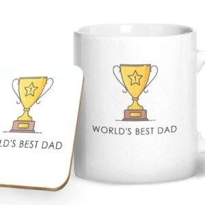 World's Best Dad – Printed Mug & Coaster Gift Set