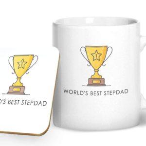 World's Best Stepdad – Printed Mug & Coaster Gift Set